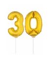 Gouden opblaas cijfer 30 op stokjes