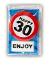 Happy Birthday kaart met button 30 jaar