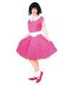 Rock n roll jurk roze met wit