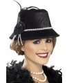 Zwart dames hoedje met parels en bloem